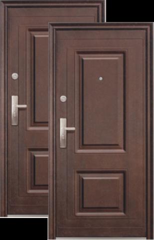 Дверь входная Сибирский Стандарт К50-2, 2 замка, 0,8 мм  металл, (тёмно-коричневый+орех)