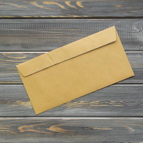 Крафт-коверт C65 (114*229мм) прямой клапан, клейкая лента