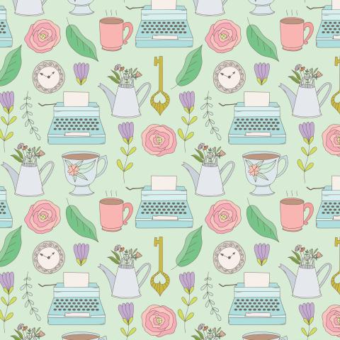 Винтажный паттерн с печатной машинкой, часами, вазой с цветами, чашкой с чаем.