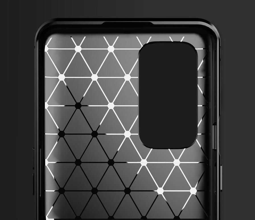 Мягкий чехол темно-синего цвета для OnePlus 9, серии Carbon (дизайн в стиле карбон) от Caseport