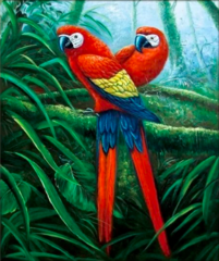 Алмазная Мозаика + Багет 40x50 Красно-синие попугаи (арт. DA-0720)