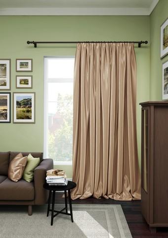 Готовая штора сатен Авери с подхватом коричневый