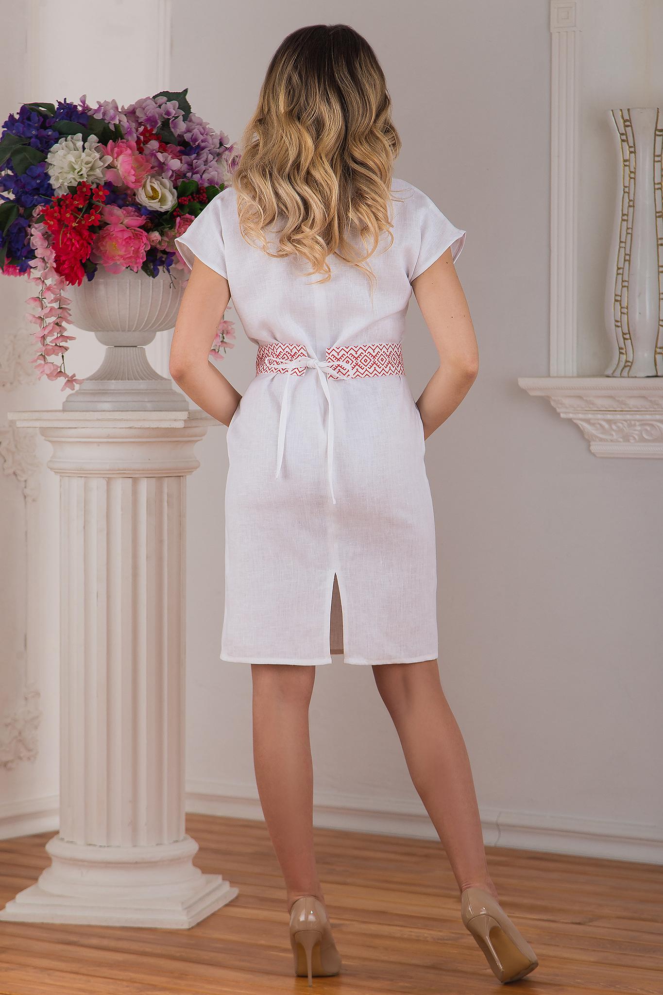 Платье льняное современное белое купить магазин Иванка вид сзади