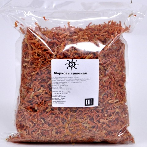 Морковь сушеная резаная 3х3 мм, 500г
