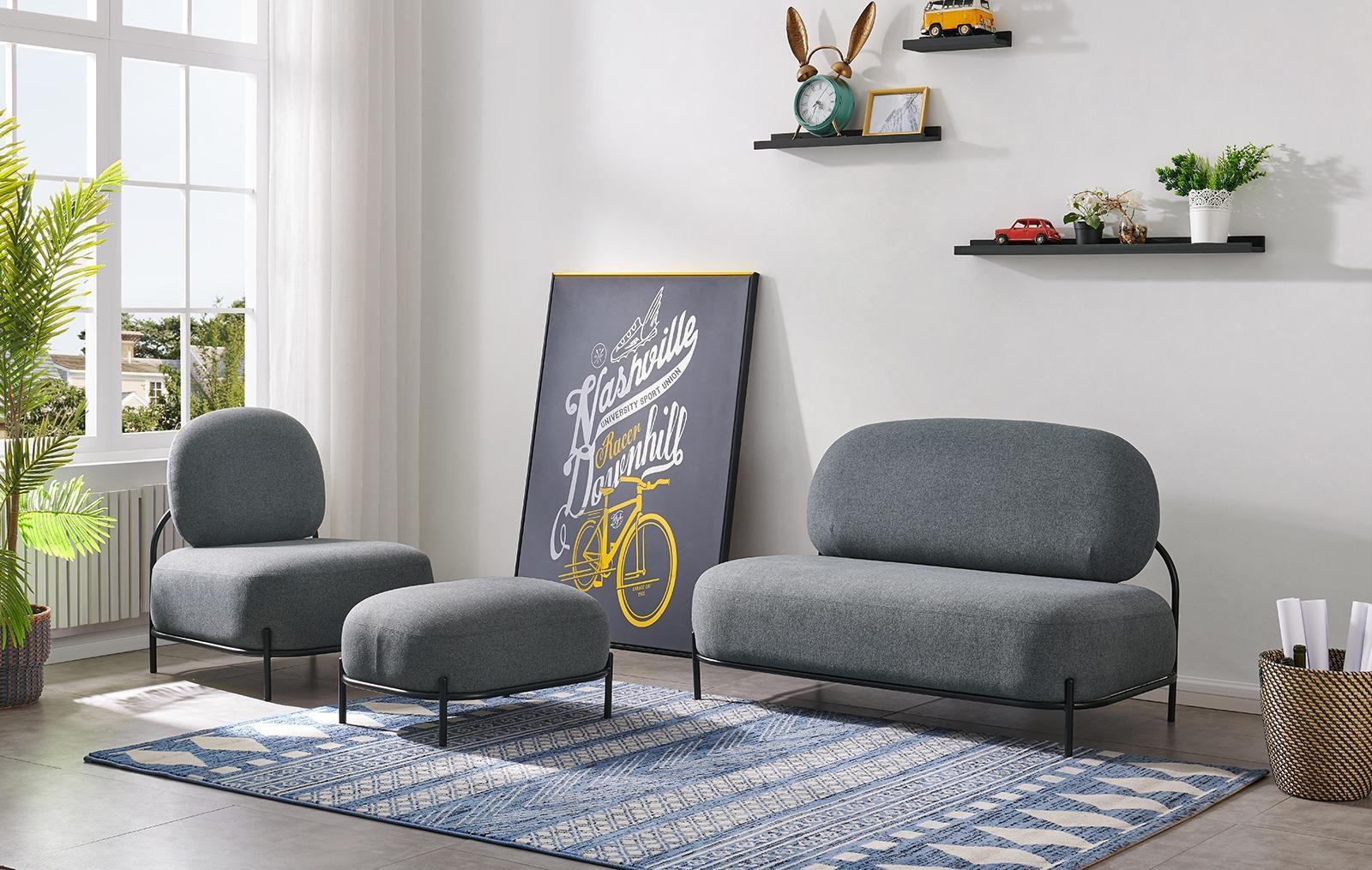 Кресло ESF SOFA 06-01 серый, диван ESF SOFA 06-02 (2-х местный) серый и пуф SOFA-06-0T серый