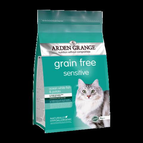 Arden Grange Adult Cat Sensitive Сухой корм для взрослых кошек с Чувствительным желудком Океаническая белая рыба и картофель беззерновой