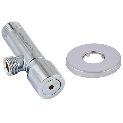 Кран угловой грибковый хромированный с фильтром DN 15 1/2 GZ x 3/8 GZ