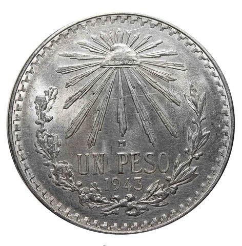 1 песо. Мексика. 1943 год. Серебро. AU