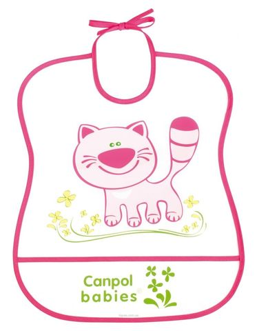 Canpol. Нагрудник пластиковый мягкий, розовый