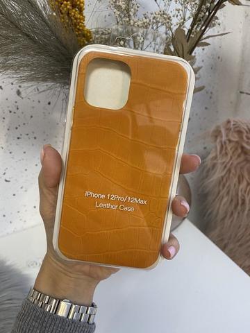 Чехол iPhone 12 Pro /6,1''/ Leather crocodile case /yellow/