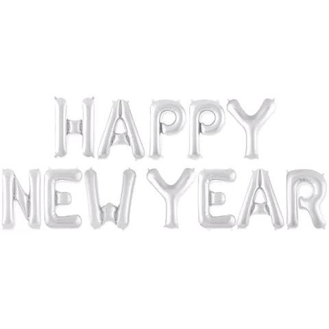 Растяжка из шаров: Буквы из фольги - С новым годом!, Happy NewYear, серебро