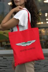 Женская сумка-шоппер с принтом Астон Мартин (Aston Martin) красная 002