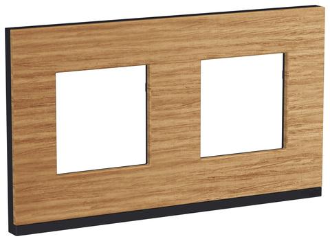 Рамка на 2 поста, горизонтальная. Цвет Дуб/антрацит. Schneider Electric Unica Pure. NU600484