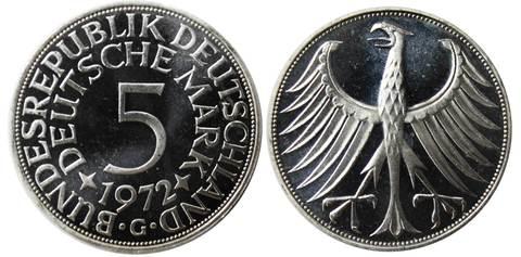 5 марок. Германия (G) Серебро. 1972 г. PROOF