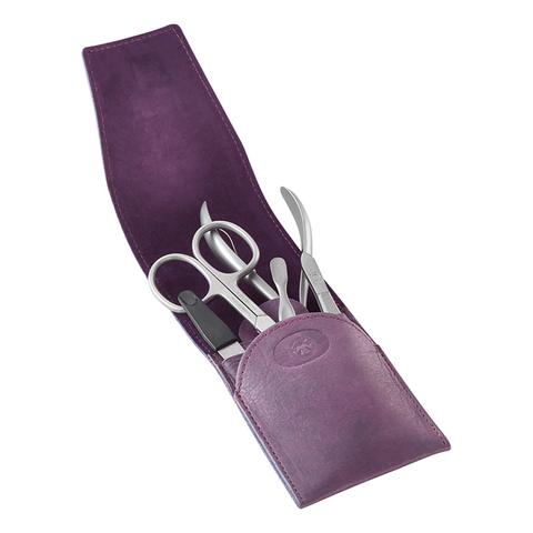 Маникюрный набор Dovo, 5 предметов, цвет фиолетовый, кожаный футляр