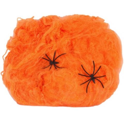 Паутина оранжевая с 2 пауками 1х1м