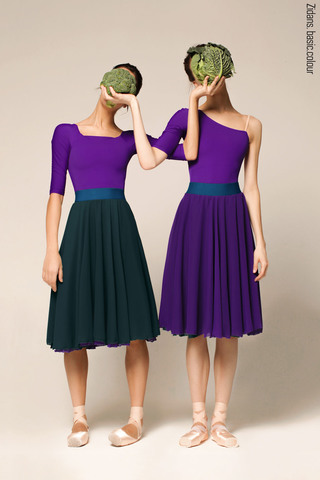 Two-sided rehearsal skirt | emerald-violet
