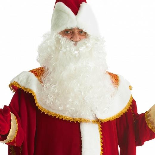 Костюм Дед Мороз из  бархата с вышитым золотистым орнаментом