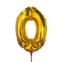 Цифра 0 (35 см) на палочке золотая