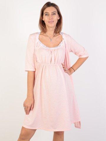 Евромама. Комплект для беременных и кормящих с коротким рукавом и кружевом большие размеры, меланж розовый