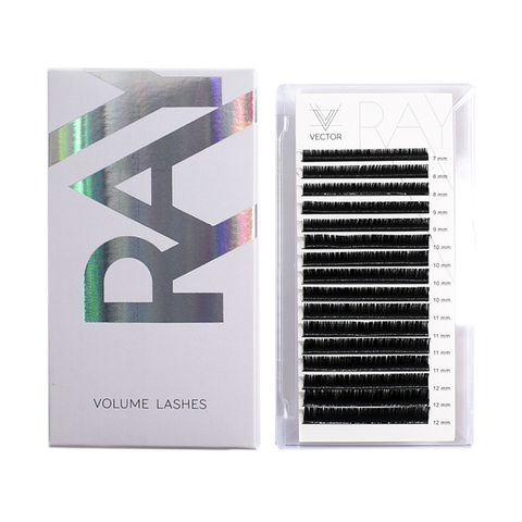 VLR-018 Микс ресниц для наращивания. VECTOR RAY Volume Lashes. Изгиб D. Толщина 0,10 мм. Длина 7-12