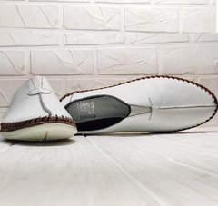 Белые мокасины слипоны кожаные мужские кэжуал Luciano Bellini 91724-S-304 All White.