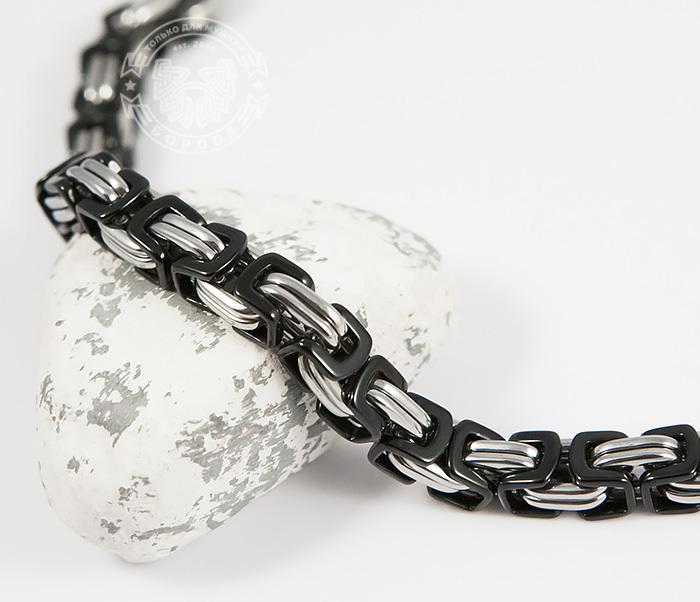 BM409 Стальной браслет из черных и серебристых звеньев (22 см) фото 04