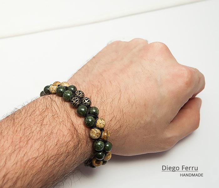 BS745 Солидный браслет Diego Ferru из натурального камня, ручная работа фото 07