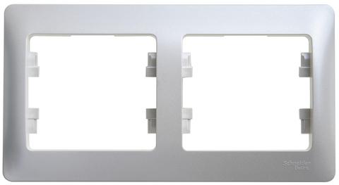 Рамка на 2 поста, горизонтальная. Цвет Перламутр. Schneider Electric Glossa. GSL000602