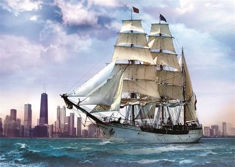 Картина раскраска по номерам 40x50 Корабль на мелких волнах у города