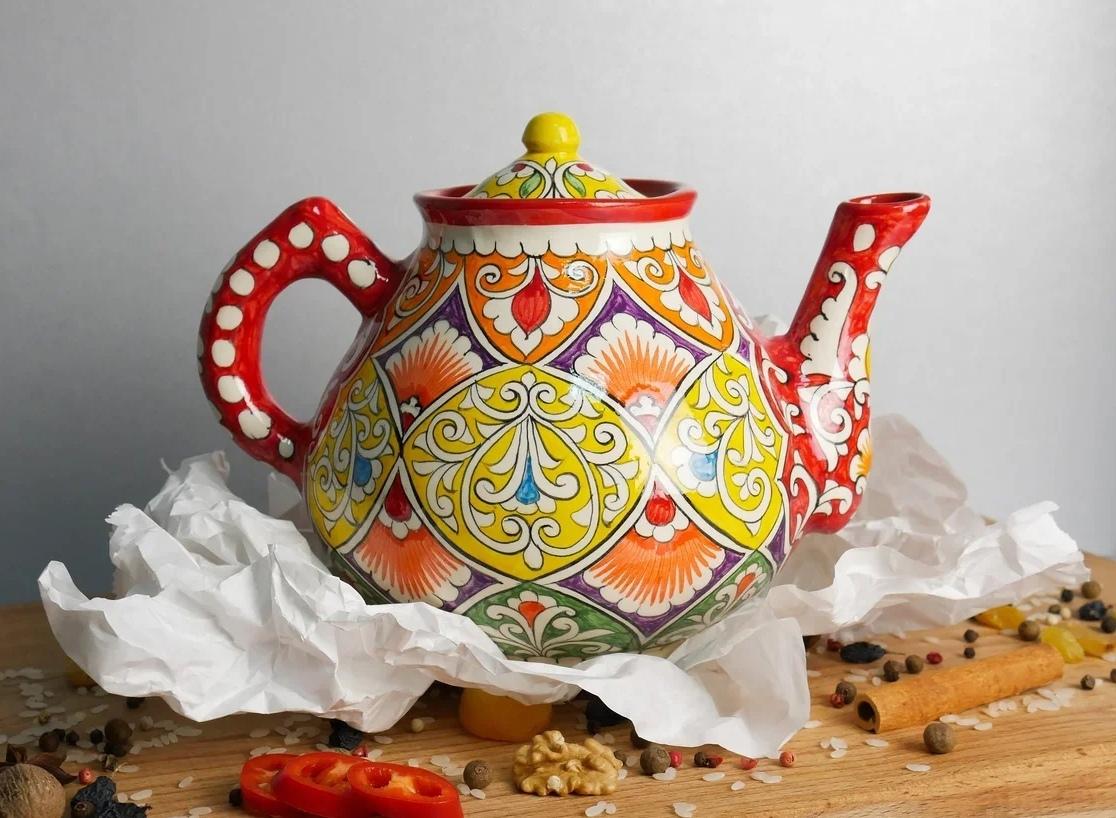 Узбекская посуда Чайник с узбекской ручной росписью ONrunockZ40.jpg