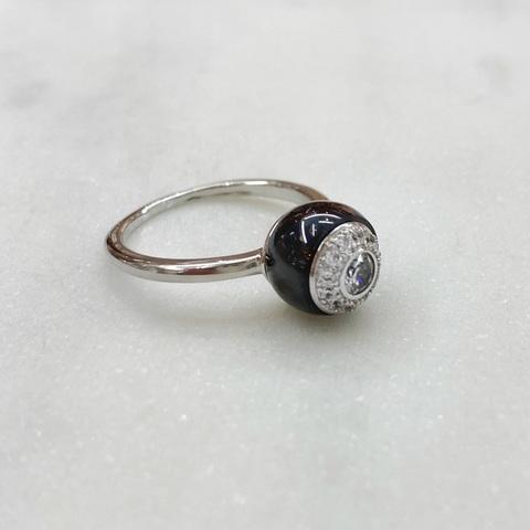 Кольцо Керамика с вставкой-розеткой черный (цирконы, сталь)