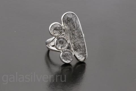 Кольцо с кварцем рутил из серебра 925