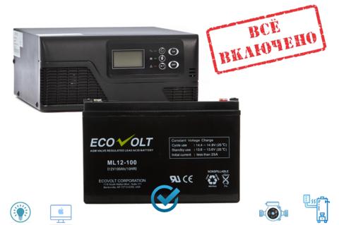 Комплект ИБП Ecovolt SMART 1012+ML 12-100