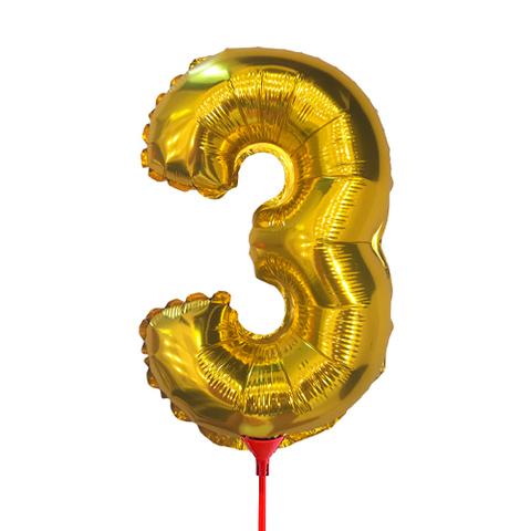 Цифра 3 (35 см) на палочке золотая