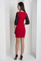 Мадлен. Оригінальна сукні з гіпюровими рукавами. Червоний