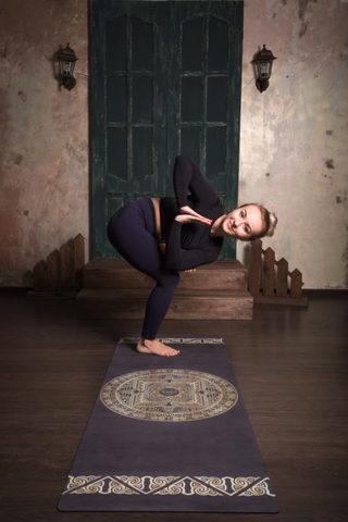 Коврик для йоги Tibet Mandala 178*61*0,2-0,35 см из микрофибры и каучука
