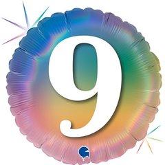 Г 18''/46см, Круг, 9 Цифра, Радужный, Голография.