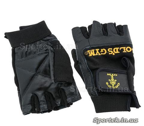 Кожаные спортивные перчатки с открытыми пальцами GOLDS GYM BC-3609 размеры XS-XXL