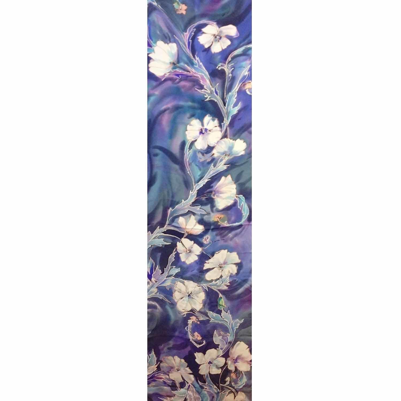 Шелковый шарф батик Морозные цветы