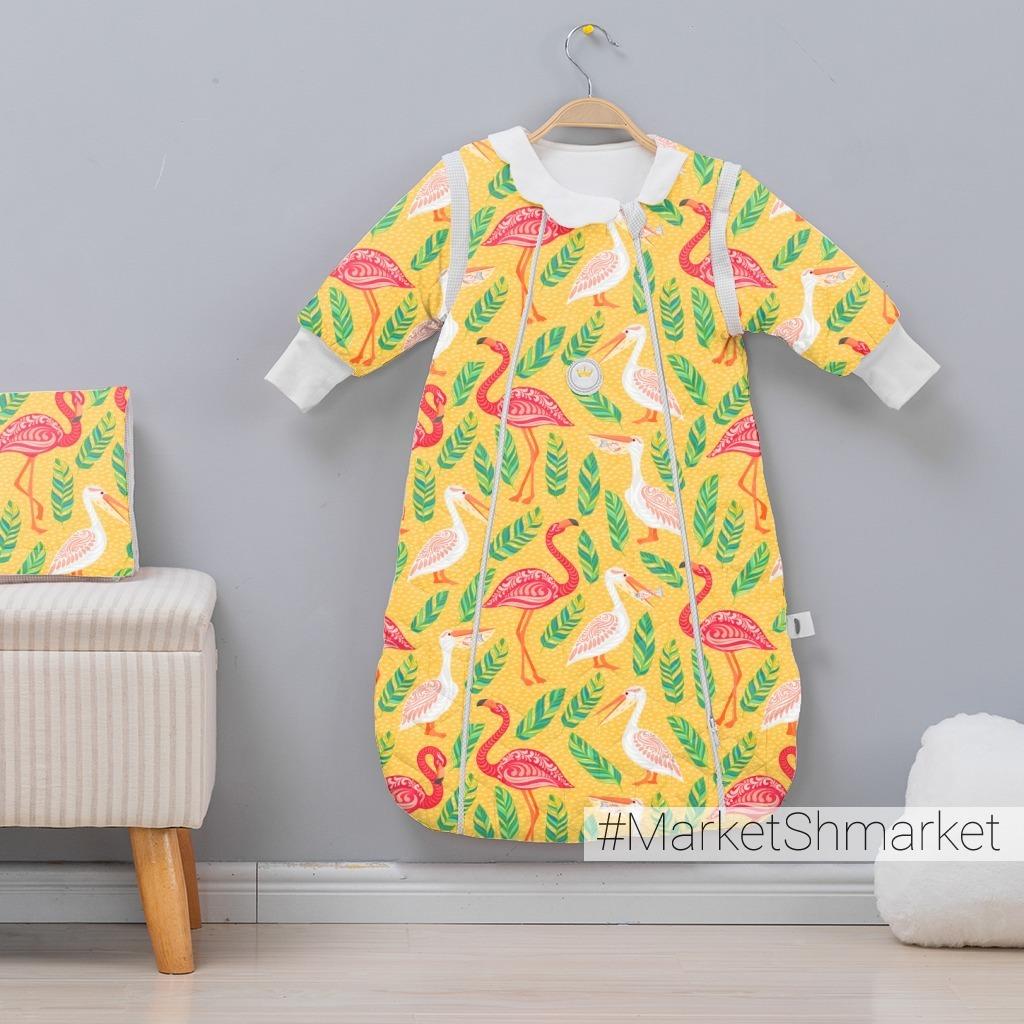 Пеликаны, фламинго, листья на желтом фоне. TROPICANA. (Дизайнер Irina Skaska)