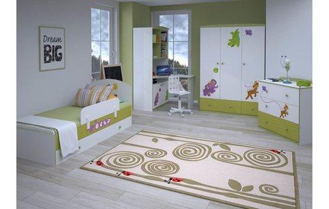 Кровать детская Polini kids Basic Elly 180х90 белый-зеленый