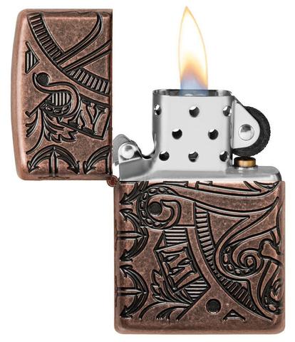 Зажигалка Zippo Armor с покрытием Antique Copper, латунь/сталь, медная, матовая, 36x12x56 мм123