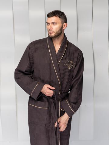 Мужской вафельный халат  PATRICK коричневый