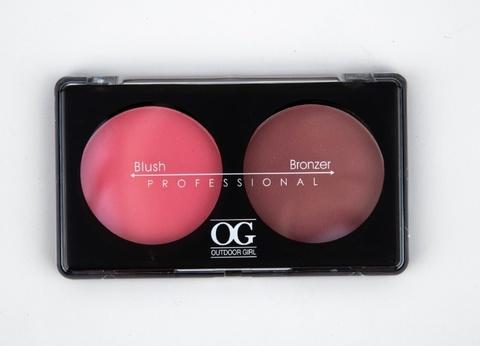 OG-Y6875 Румяна для лица шелковистые+бронзатор тон 01,Blush/Soft Lights Duo
