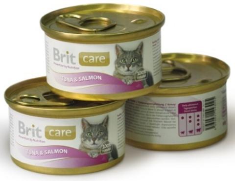 3025 Brit Care Консервы д/кошек Тунец с лососем 80гр*48