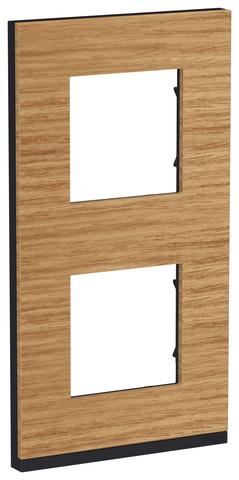 Рамка на 2 поста, вертикальная. Цвет Дуб/антрацит. Schneider Electric Unica Pure. NU6004V84