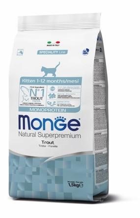купить Monge Cat Kitten Trout cухой корм для котят с форелью 1.5 гр
