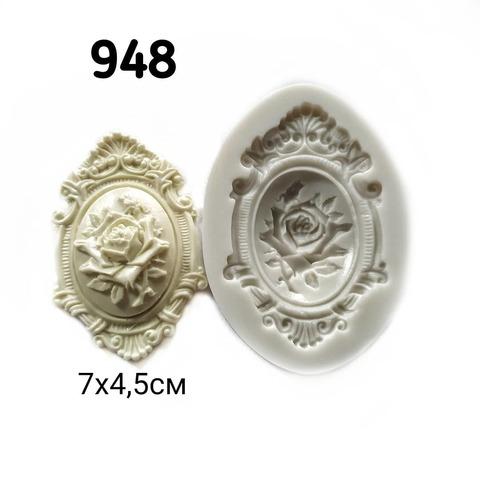 0948 Молд силиконовый. Накладка с розой