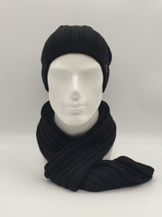 Мужской молодежный комплект шапка бини/ колпак и шарф, черный меланж